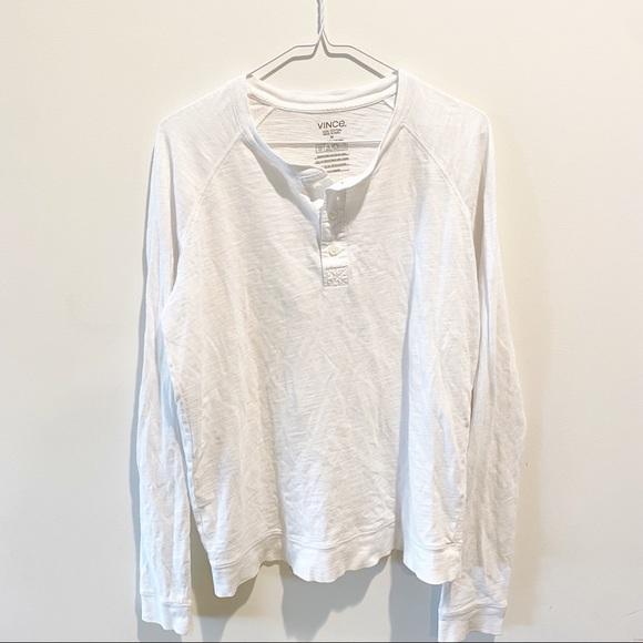 Vince white cotton Henley long sleeve shirt